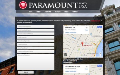 Screenshot of Contact Page prusa.com - Contact - Paramount Realty USA - captured Oct. 1, 2014