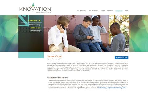 Screenshot of Terms Page knovationlearning.com - Terms of Use | Knovation - captured Oct. 6, 2014