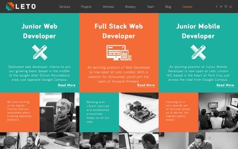 Screenshot of Jobs Page weareleto.com - Leto - Career - captured Jan. 14, 2016