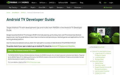 Screenshot of Developers Page nvidia.com - Android TV Developer Guide | NVIDIA Developer - captured Aug. 23, 2018