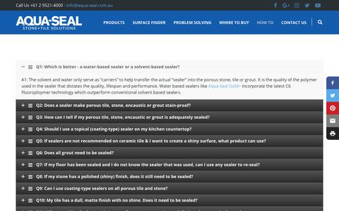 Screenshot of FAQ Page aqua-seal.com.au - FAQ's | Aqua-Seal STS - captured Oct. 4, 2018