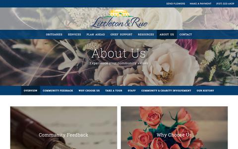 Screenshot of About Page littletonandrue.com - Littleton & Rue Funeral Home and Crematory | Springfield, OH - captured Feb. 26, 2018