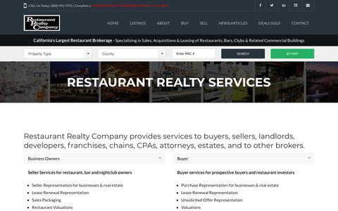 Screenshot of Services Page restaurantrealty.com - Restaurant Realty Services - captured Nov. 12, 2017