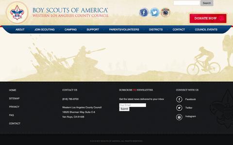 Screenshot of FAQ Page bsa-la.org - Boy Scouts – Western Los Angeles County Council  – FAQ - captured Nov. 23, 2016