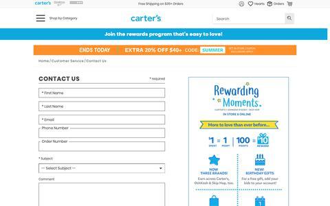Screenshot of Contact Page carters.com - Contact Us | Carter's - captured June 16, 2019