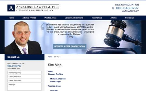 Screenshot of Site Map Page anzalonelegal.com - Site Map :: Lawrence, Massachusetts Personal Injury Lawyer Anzalone Law Firm, PLLC - captured Oct. 8, 2017
