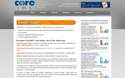 Screenshot of Support Page coreims.com - Warehouse, Barcode & Inventory Software Support - CoreIMS™ - captured Oct. 10, 2014