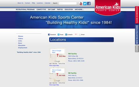 Screenshot of Locations Page aksc.com - American Kids Sports Center - captured Oct. 4, 2014