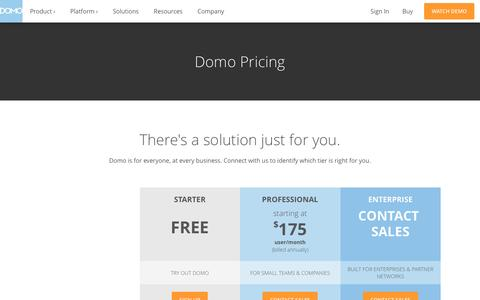 Screenshot of Pricing Page domo.com - Pricing | Domo - captured March 15, 2017