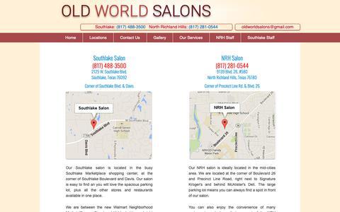 Screenshot of Locations Page oldworldsalons.com - Old World Salons - Southlake, North Richland Hills - captured Nov. 7, 2018