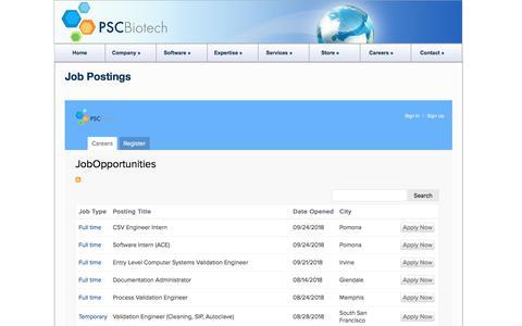 Screenshot of Jobs Page biotech.com - Job Postings | PSC Biotech - captured Sept. 26, 2018