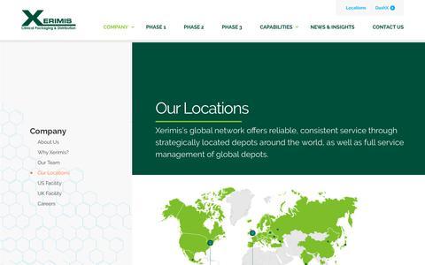 Screenshot of Locations Page xerimis.com - Our Locations - Xerimis Inc. - captured Oct. 19, 2018