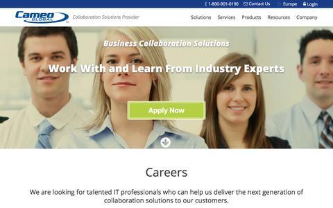 Screenshot of Jobs Page cameoglobal.com - Careers - CameoGlobal - captured May 18, 2016