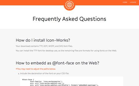 Screenshot of FAQ Page icon-works.com - Icon-Works - captured Oct. 31, 2014