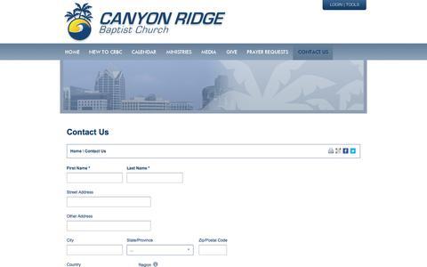 Screenshot of Contact Page canyonridgebaptist.com - Canyon Ridge Baptist Church | Contact Us - captured Oct. 1, 2014