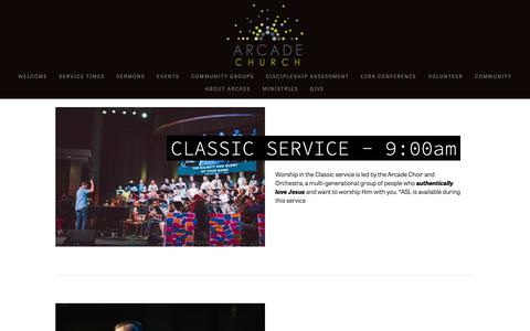 Screenshot of Services Page arcadechurchonline.com - Services — Arcade Church - captured Oct. 4, 2018