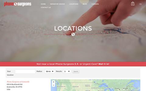 Screenshot of Locations Page phonesurgeons.com - Smartphone & Tablet Repair and Buybacks | Phone SurgeonsE.R. LOCATOR - Smartphone & Tablet Repair and Buybacks | Phone Surgeons - captured July 13, 2016