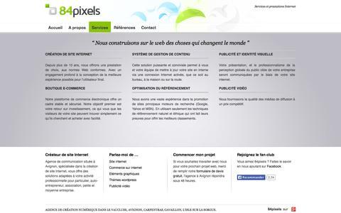 Screenshot of Services Page 84pixels.com - Services et prestations Internet - captured Oct. 27, 2014