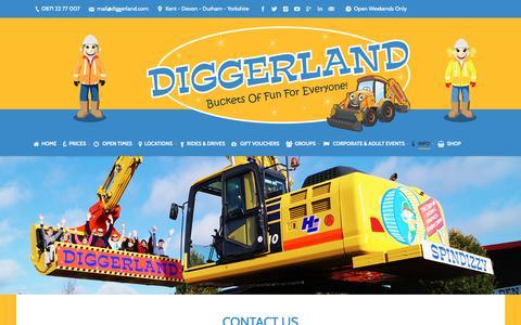 Screenshot of Contact Page diggerland.com - Contact Us - Diggerland UK Theme Park - captured Oct. 9, 2018