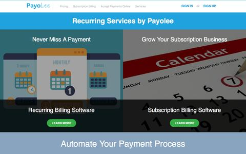 Screenshot of Services Page payolee.com - Payolee Recurring and Subscription Services - captured April 3, 2017