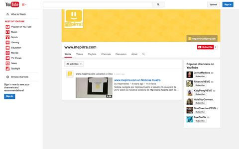 Screenshot of YouTube Page youtube.com - www.mepirra.com  - YouTube - captured Nov. 3, 2014