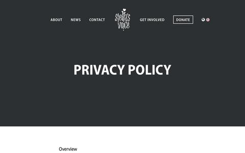 Screenshot of Privacy Page stellasvoice.org - Stella's Voice | Privacy Policy - captured Dec. 13, 2016