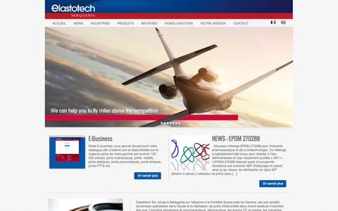 Screenshot of Home Page Privacy Page FAQ Page elastotech.fr - Elastotech | Sealing solutions - captured Oct. 2, 2014