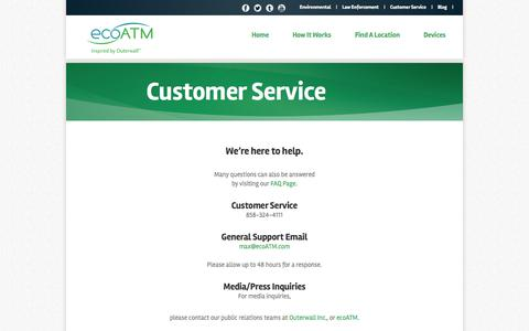 Screenshot of Support Page ecoatm.com - Customer Service - Help To Sell Your Used Cell Phone - captured Sept. 15, 2014