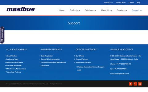 Screenshot of Support Page masibus.com - Support | Masibus Automation And Instrumentation - captured Oct. 17, 2018