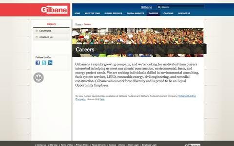 Screenshot of Jobs Page gilbanefederal.com - Gilbane Federal Careers - captured Oct. 6, 2014