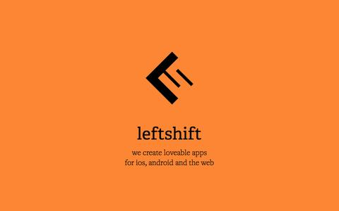 Screenshot of Home Page Services Page Team Page leftshift.io - LeftShift | we create loveable apps for ios, android and the web - captured Sept. 19, 2014