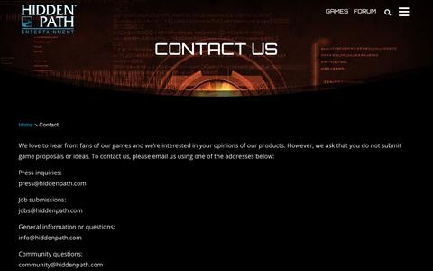 Screenshot of Contact Page hiddenpath.com - Contact - Hidden Path Entertainment - captured Aug. 10, 2017