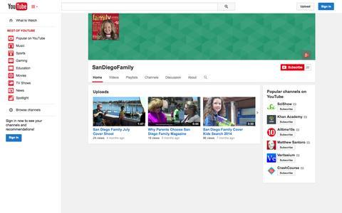 Screenshot of YouTube Page youtube.com - SanDiegoFamily  - YouTube - captured Oct. 23, 2014