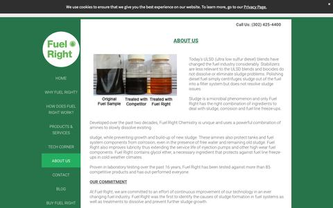 Screenshot of About Page fuelright.com - Fuel Right Diesel Additive to Prevent Sludge - captured Sept. 1, 2018