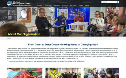 Screenshot of About Page noc.ac.uk - About Our Organisation | National Oceanography Centre - captured Oct. 19, 2017