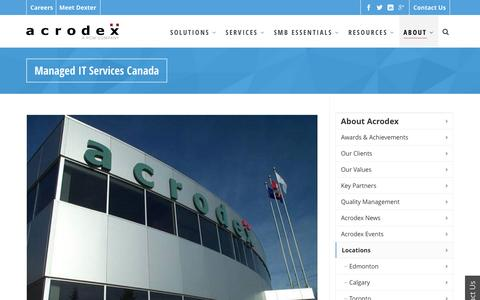 Screenshot of Locations Page acrodex.com - Managed IT Services - Consulting - Solutions - Support Canada   Acrodex Inc. - captured July 24, 2016