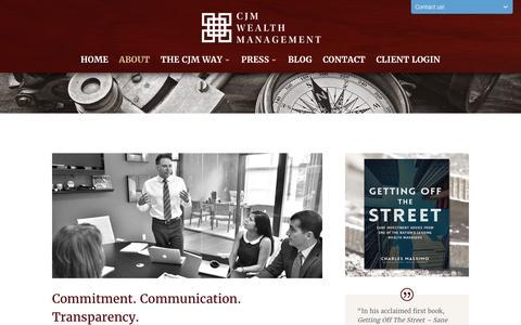 Screenshot of About Page cjmwealth.com - Wealth Management Firms | About CMJ Wealth Management - captured Jan. 23, 2016