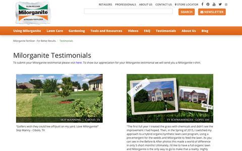 Screenshot of Testimonials Page milorganite.com - Milorganite lawn and garden testimonials - captured Oct. 20, 2018