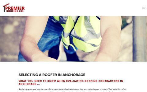 Screenshot of Services Page premierroofingalaska.com - Selecting a Roofer in Anchorage, AK — Premier Roofing Co. - captured Aug. 21, 2017
