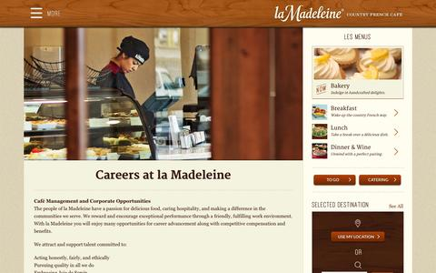 Screenshot of Jobs Page lamadeleine.com - Careers at la Madeleine - La Madeleine - captured Sept. 19, 2014
