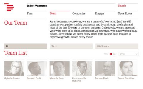 Screenshot of Team Page indexventures.com - Team   Index Ventures - captured Sept. 23, 2014