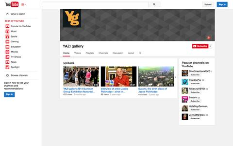 Screenshot of YouTube Page youtube.com - YAZI gallery  - YouTube - captured Oct. 23, 2014