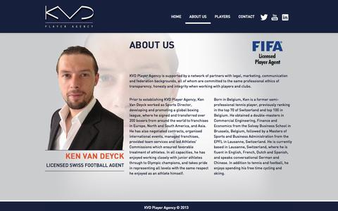 Screenshot of About Page kvdplayeragency.com - KVD Player Agency - captured Sept. 30, 2014