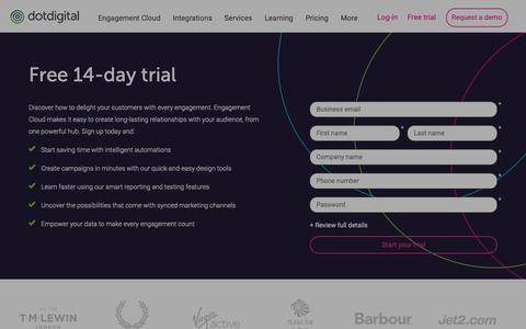 Screenshot of Trial Page dotdigital.com - Start your 14-day trial   dotdigital Engagement Cloud - captured Jan. 16, 2019