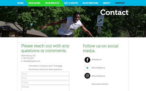 Screenshot of Contact Page keysports.net - Key Sports | CONTACT US | Dayton, OH - captured Sept. 20, 2018