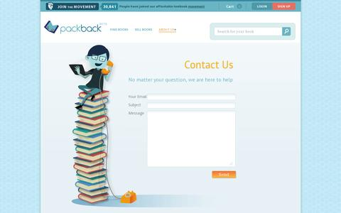 Screenshot of Contact Page packbackbooks.com - Contact Us - captured July 19, 2014