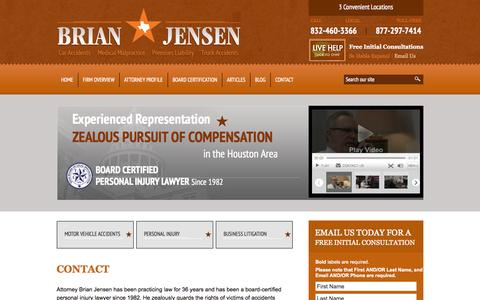 Screenshot of Contact Page bjensenlaw.com - Contact | B. L. Jensen, L.P. | Houston, Texas - captured Oct. 2, 2014
