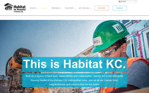 Screenshot of About Page habitatkc.org - About – Habitat for Humanity - captured Dec. 14, 2018