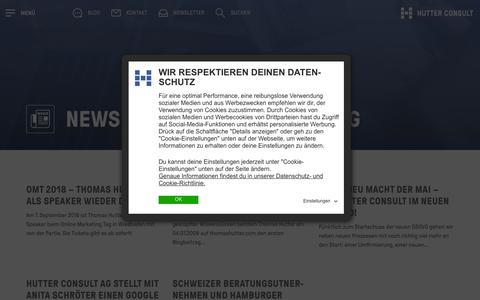 Screenshot of Press Page hutter-consult.com - News von Hutter Consult AG | Hutter Consult AG - captured Sept. 30, 2018