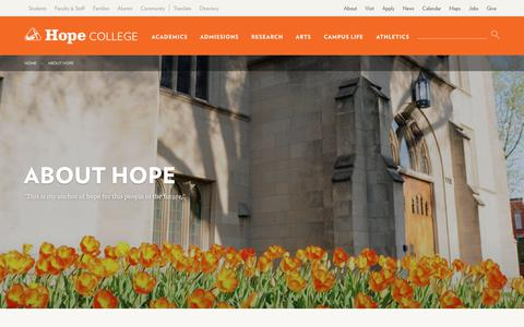 Screenshot of About Page hope.edu - About Hope | Hope College - captured June 10, 2018